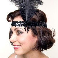 BEST SELLER! Black Charleston Feather Flapper Headband