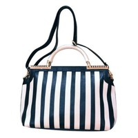 Black White Vertical Stripes Hardware Large Size Handbag Purse Bag