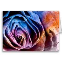 Colorful Acrylic Textured Rose Greeting Card