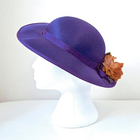 Aubergine Purple 70's Wide Brim Satin Vintage Hat - Trimmed In Grosgrain Ribbon & Terracotta Colour Flower - Wedding Races Occasion Wear