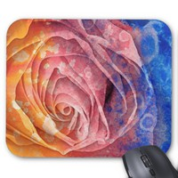 Pretty Colorful Painted Rose Mousepad