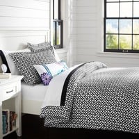 Petal Dot Duvet Cover + Sham, Black