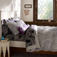 Ruched Duvet Cover + Sham, Light Grey