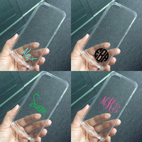 Transparent clear case for iPhone 5 case 5s case, iPhone 5c case, personalized monogram name initial custom made plastic hard case tpu edge
