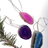 Agate Slice Geode Christmas Ornament- Radiant Orchid Gemstone Ornament, Natural Rock Ornament, Crystal Ornament