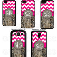 Monogram Hot Pink Chevron and Camo Rubber Case Fits iPhone 4/4S iPhone5/5S/5C Samsung Galaxy S3/S4