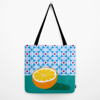 Fruit with Wallpaper (orange) Tote Bag by The Wallpaper Files