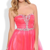 Strapless Short Prom Dress with Stone Bust and Mesh Horsehair Skirt