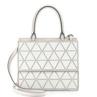 Victoria Beckham Mini Triangle Soft Leather Tote Bag, White