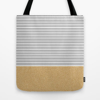 Minimal Gold Glitter Stripes Tote Bag by Allyson Johnson