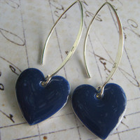 Navy Blue Enamel Heart and Sterling Silver Earrings by leprintemps