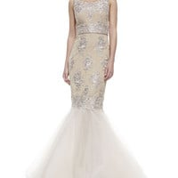 Notte by Marchesa Sleeveless Embroidered Mermaid Gown, Rose Gold