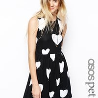 ASOS PETITE Skater Dress in Heart Mono Print