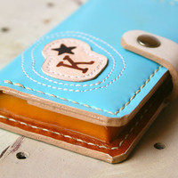 Personalized Hand Stitched Wallet Leather iPhone 4s Case by rntn