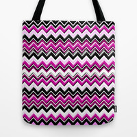 Colorful Pink Magenta Chevron Zig Zag Pattern Tote Bag by Megan Aroon Duncanson ~ MADART
