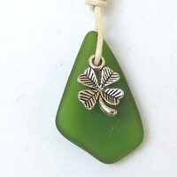 Irish Clover Green Sea Glass Necklace Irish