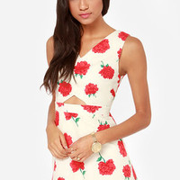 Floral Chorus Red and Cream Floral Print Dress