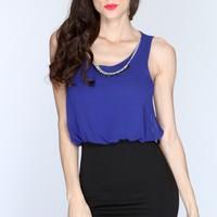 Royal Blue Black Two Tone Sleeveless Casual Dress