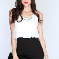 White Black Two Tone Sleeveless Casual Dress