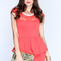 Coral Beaded Neckline Peplum Sexy Dress