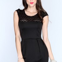 Black Flroal Mesh Short Sleeve Bodycon Dress