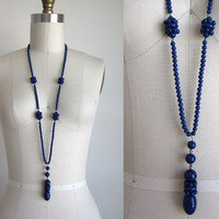 1920s Necklace / Vintage 1920s Beaded Flapper Necklace / Art Deco Blue Glass Bead Sautoir Necklace