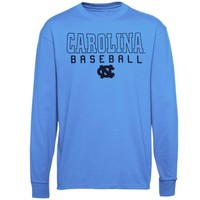 North Carolina Tar Heels (UNC) Frame Baseball Long Sleeve T-Shirt - Light Blue