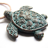 Sea Turtle Necklace, Copper with Verdigris Patina Finish Women or Mens Jewelry Surfer Honu