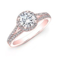 1.00 carat Round Brilliant Cut Diamond Halo Anniversary Engagement Ring in 14k Rose Gold