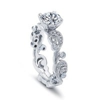 Kirk Kara Angelique Engagement Ring With Hand Engraved Scroll Work and 0.21 Carats Diamonds