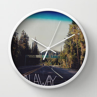 Let's Run Away IV Wall Clock by Leah Flores