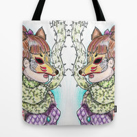 Girl Kitsune Tote Bag by Luna Kirsche