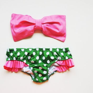 Bubblegum Pink Bow Bandeau Green and white polka dot panties ALL Cotton Bikini Style Pin up Vintage Diva Halter neck Sun Bikini