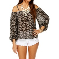 BlackOff White Floral Long Sleeve Top