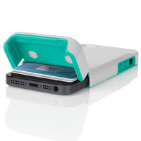 The Optical White / Navajo Turquoise Incipio STASHBACK™ Dockable Credit Card Case for iPhone 5-5s - Default Title