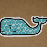 WHALE VINEYARD VINES ANCHOR VINYL STICKER DECAL SOUTHERN PROPER