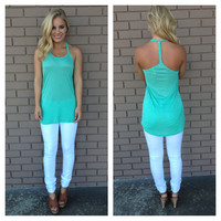 Mint Braided T-Back Tank