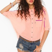 Trimmed Pocket Blouse - Peach in  Clothes Tops Shirts + Blouses at Nasty Gal