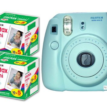 New Model Fuji Instax 8 Color Blue Fujifilm Instax Mini 8 Instant Camera + 100 Films