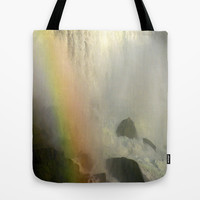 Waterfall and Rainbow  Tote Bag by Sari Klein