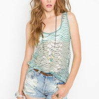 Scalloped Sequin Tank in  Sale at Nasty Gal