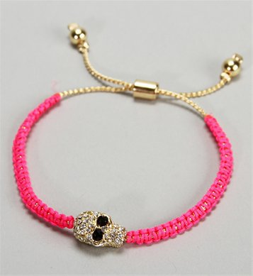 Hot Pink Skull Bracelet