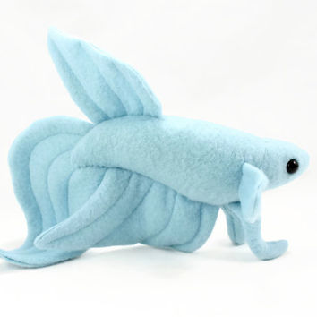 Baby blue veil tail betta fish stuffed from beezeeart for Fish stuffed animal