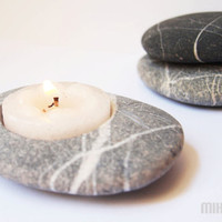 feng shui home decor hand engraved beach stone candle by Mihulli