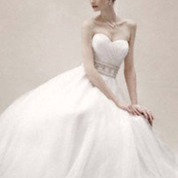 Strapless Tulle Ball Gown with Beaded Belt - David's Bridal