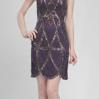 Purple Beaded Scallop Short Flapper Dress - Unique Vintage - Cocktail, Evening, Pinup Dresses