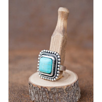 West and Co. Women's Embellished Edge Turquoise Rectangle Adjustable Ring