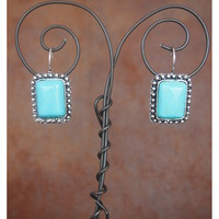 West and Co. Women's Embellished Edge Turquoise Rectangle Drop Earring