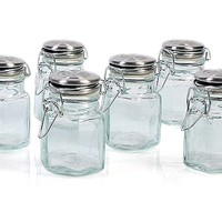 S/6 Hexagon Spice Jars, 4 Oz