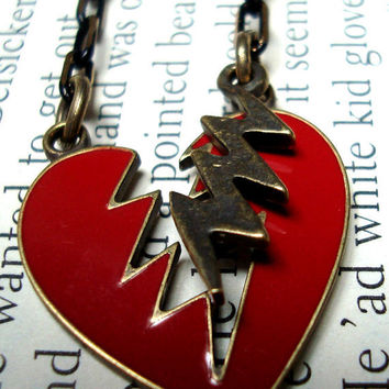 Retro Broken heart necklace by AshleysCharm on Etsy